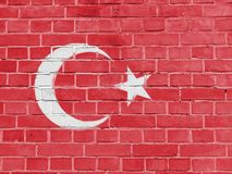 Turkey Politics Concept: Turkish Flag Wall. Background Texture stock images