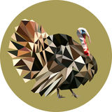 Turkey in a polygon style. Fashion illustration of the trend in. Style on a green background. Farm animals Royalty Free Stock Image