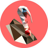Turkey in a polygon style. Fashion illustration of the trend in. Style on a pink background. Farm animals. Portrait Royalty Free Stock Photo