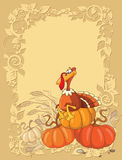 Turkey and pumpkin background Royalty Free Stock Photo
