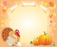 Turkey and pumpkin for text Stock Images