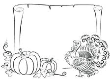 Turkey and pumpkin for text Royalty Free Stock Photography
