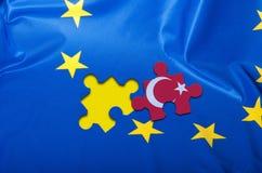 Turkey Puzzle Piece on Flag of European Union. Detail of Silky Flag of Blue European Union EU Flag Drapery With Puzzle Piece With Turkey stock photos