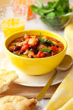 Turkey Ragout with Vegetables. Turkey and red bean ragout with pumpkin,tomatoes and spinach Stock Photos