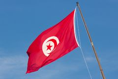 Turkey Red Flag. Waving in the blue sky royalty free stock image