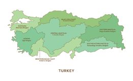 Turkey regions, vector geography background. Turkey regions, green vector province geography background Stock Photos