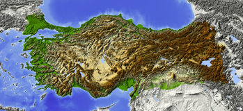 Turkey, relief map Stock Image