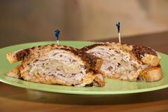 Turkey Reuben Sandwich Rye Royalty Free Stock Images