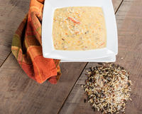 Turkey rice soup in white bowl Royalty Free Stock Images