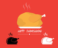 Turkey roasted on plate logo for thanks giving background. Vector illustration Stock Photos