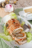 Turkey Roll On Plate With Lettuce Royalty Free Stock Images