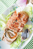 Turkey Roll On Plate With Lettuce Stock Image