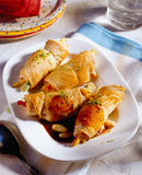 Turkey rolls stuffed with vegetables Royalty Free Stock Photo