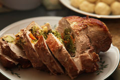 Turkey roulade. Close-up of a festive dish, a turkey roulade stock photos