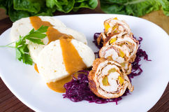 Turkey roulade with dumplings and red cabbage Stock Photo