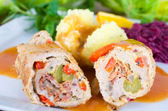 Turkey roulade with potato dumplings Stock Images