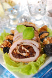 Turkey roulade with prune and walnuts for christmas Royalty Free Stock Images