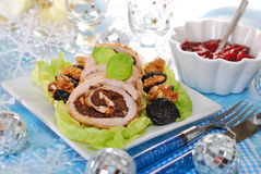 Turkey roulade with prune and walnuts for christmas Stock Photography