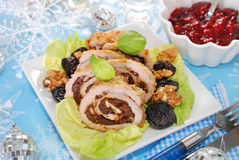 Turkey roulade with prune and walnuts for christmas Royalty Free Stock Photos
