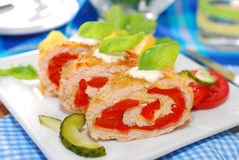 Turkey roulade stuffed with cheese and red pepper. Baked turkey roulade stuffed with cheese and red pepper for dinner Royalty Free Stock Photography