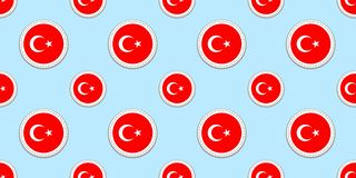 Turkey round flag seamless pattern. Turkish background. Vector circle icons. Geometric symbols. Texture for sports pages, competit vector illustration