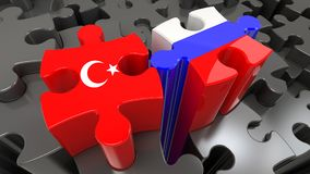 Turkey and Russia flags on puzzle pieces. Political relationship concept. 3D rendering Royalty Free Stock Photography