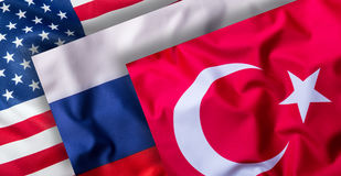 Turkey russia and USA Flags. Collage of world flags Stock Photos