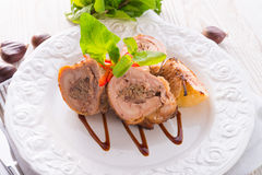 Turkey's beef olive with ham-sweet chestnut filling Royalty Free Stock Photography
