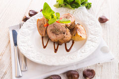 Turkey's beef olive with ham-sweet chestnut filling Stock Photography