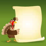 Turkey's Menu. Illustration of a turkey holding menu for thanksgiving holidays Royalty Free Stock Image
