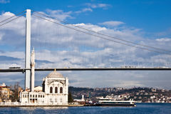 Turkey's Ortakoy Mosque. Ortakoy Mosque or Grand Imperial Mosque (Buyuk Mecidiye Camii) in Istanbul, Turkey, with the Bosporus Bridge in the background Royalty Free Stock Image