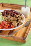 Turkey salad. With fresh iceberg lettuce, cherry tomatoes and red beans royalty free stock photography
