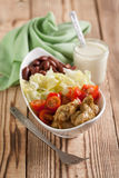 Turkey salad. With fresh iceberg lettuce, cherry tomatoes and red beans Stock Photography
