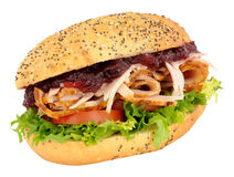 Turkey And Salad Sandwich With Cranberry Jelly Stock Photos