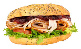 Turkey And Salad Sandwich With Cranberry Jelly Royalty Free Stock Photos