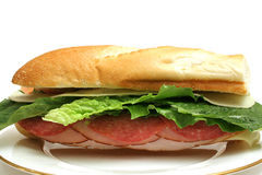 Turkey salami & ham sandwich whole Stock Photos