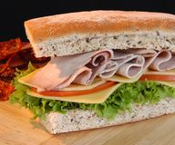 Turkey sandwich. Turkey sandwich with cheese and vegetables Royalty Free Stock Photography