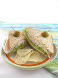 Turkey Sandwich. On whole wheat bread with tortilla chips and olives Stock Photos