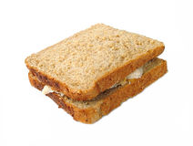 Turkey sandwich. On brown bread stock photos