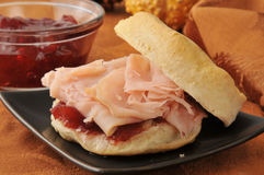 Turkey sandwich on a biscuit. A turkey sandwich on a fresh baked biscuit Royalty Free Stock Photo