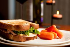 Turkey Sandwich with carrots Stock Image