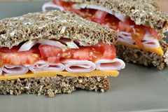 Turkey sandwich closeup. Closeup of a turkey sandwich cut on the diagonal Stock Photos