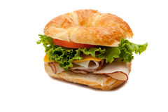 A turkey sandwich on a croissant Royalty Free Stock Images