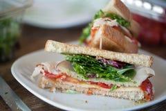 Turkey Sandwich Cut in Half Royalty Free Stock Photography