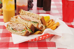 Turkey sandwich with fries Royalty Free Stock Image
