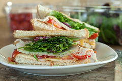 Turkey Sandwich Halves Royalty Free Stock Photography