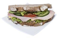 Turkey Sandwich (isolated on white) Stock Image