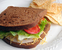 Turkey Sandwich Lunch Stock Photos