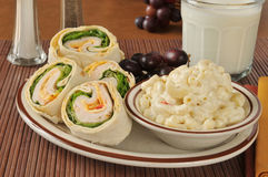 Turkey sandwich with macaroni salad Royalty Free Stock Images