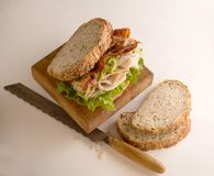 Turkey sandwich on multi grain bread stock photography